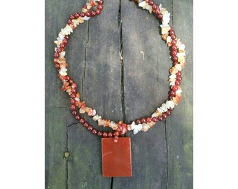 Carnelian and red agate necklace.