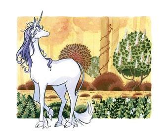 "The Last Unicorn, Gouache Print, 8"" x 10"", Fantasy Art"