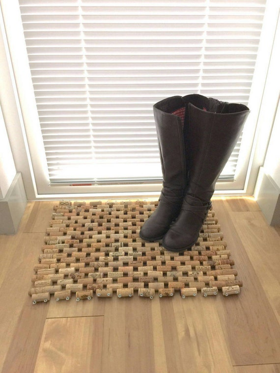 Multi use wine cork floor mat for Wine cork welcome mat