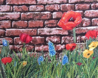 Fabric Postcard, Quilted Textile Card, Fabric Collage, Poppies, Flowers, Brick Wall, Mini Art Quilt, Small Quilt, Ready to Frame, Nature