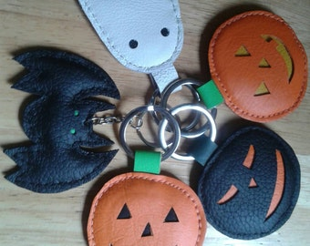 Handmade Leather Halloween Key Rings