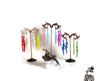 Lightning Bolt Earrings, Pastel Goth Earrings, Tattoo Drop Earrings, Punk Jewelry, Rockabilly Earrings, Pink Purple White Blue Green Yellow