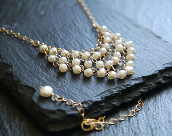 Pearl Necklace, Pearl and Gold Necklace, Gold Filled, Tassel Necklace, Fringe Necklace, Wedding Necklace, Freshwater Pearl Necklace, Boho