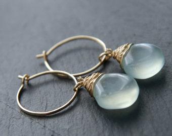 Aqua Chalcedony Earrings, Small Gold Hoop Earrings, 14K Gold Fill, Wire Wrapped Jewelry, Aqua Gemstone Briolette, Teardrop Earrings, Wedding