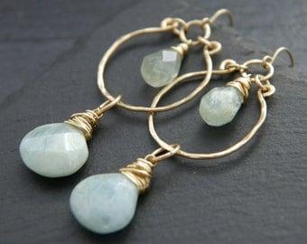 Aquamarine Earrings, Gold Chandelier Earrings, 14K Gold Filled Teardrop Hoop Dangle Earrings, Gemstone Briolette, Wedding, Boho, Hippie