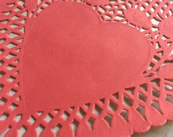 """25 Heart Paper Lace Doilies Red 6"""" Wedding Decor Gift Craft Party Supply"""