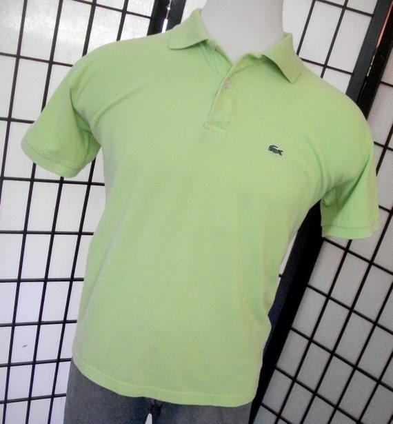 Lacoste 7 alligator lime green adult cotton polo shirt for Lacoste shirts with big alligator