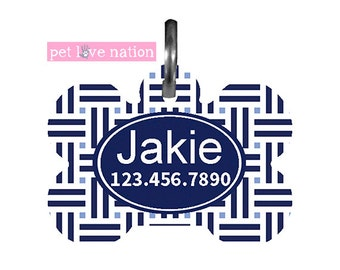 Personalized Pet Tag, Dog Tag, ID Tag, Basketweave Pet Tag Blue With Name And Phone Number