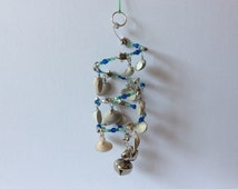 Seashell windchime, Scottish cockle shell spiral mobile, sea shell suncatcher, Seaglass hanging