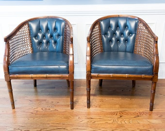 2 vintage Hollywood Regency Faux Bamboo Cane Barrel Chairs