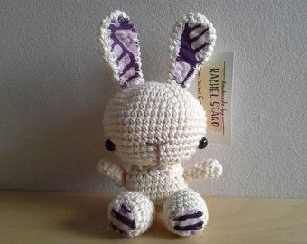 Small cream crochet rabbit with detail ears.