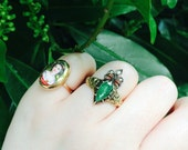 AMAZING Georgian era crowned heart antique engagement ring, pear shaped emerald ring with diamonds, unique antique diamond engagement ring.