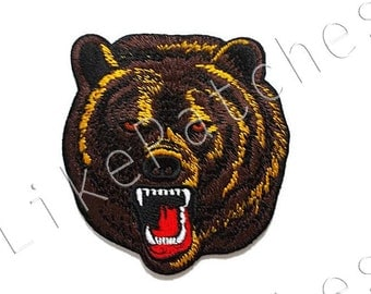 Brown Bear Head - Wild Animal - Sew / Iron on Patch Embroidered Applique Size 8.4cm.x9cm.