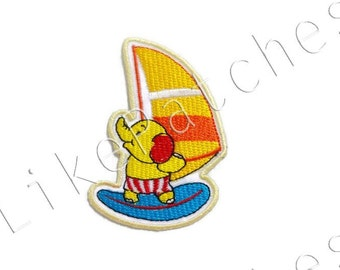 Yellow Elephant Sailing - Yellow Sailboat - Cute Patch New Sew / Iron on Patch Embroidered Applique Size 5.7cm.x8.4cm.