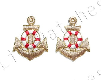 Set 2pcs. Cream Color Anchor New Sew / Iron On Patches Embroidered Applique Size 3.3cm.x4.2cm.