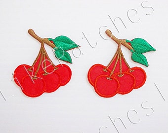 Set 2pcs. Cherry Patch - Little Cherry - Cute Patches - Fruit Patch New Sew / Iron On Patch Embroidered Applique Size 3.5cm.x3.5cm.