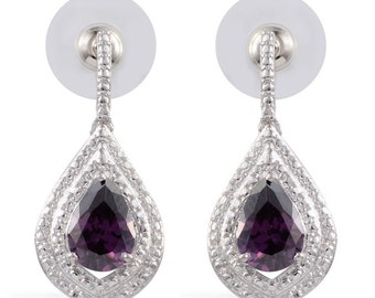 Simulated Purple Sapphire Pear Earrings Platinum Bonded Brass TGW 6.15 cts.