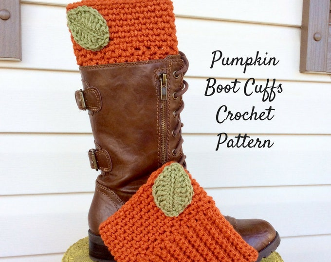 Easy to Intermediate Pumpkin Boot Cuff Crochet Pattern, Fall Boot Cuff Crochet Pattern, Boot Cuff with Leaf Pattern and Photo Tutorial