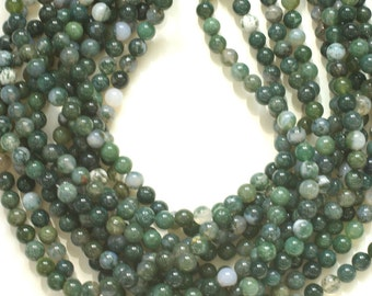 Moss Agate Beads, Green Moss Agate 8mm Smooth Round Beads, 15.5 inches Full strand 50 beads