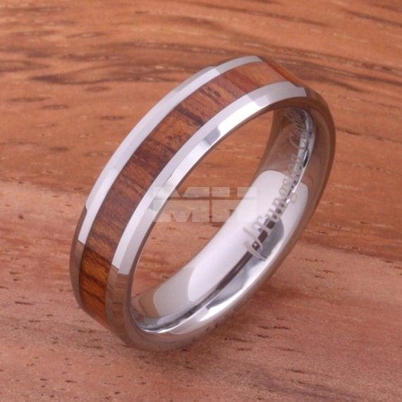 5mm hawaiian koa wood inlaid tungsten by