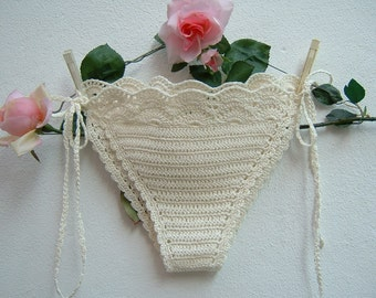 Ivory crochet cotton briefs-Costume crochet triangle-hippie chic Slip with lacing and beachwear boho