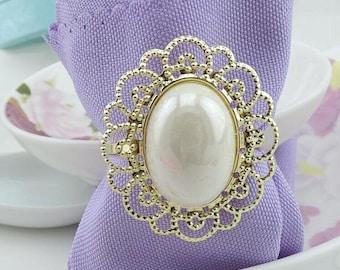 50 pcs Gold Pearl Napkin Rings, Rhinestone Wedding Napkin Rings Table Decor Diamante, Crystal  Wedding Bling,Wedding Napkin Holder NP06