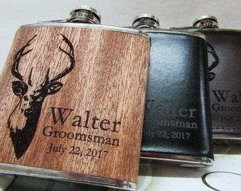 Personalized Flask, Engraved Hip Flask, Custom Leather Flask, Groomsmen Flask, Groomsman Gift, Groomsmen Gift, Flask for Men, Gift for Him