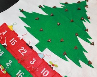 SALE!!! Christmas Advent Calendar, felt calendar, Christmas countdown, Handmade Advent calendar, christmas ornaments