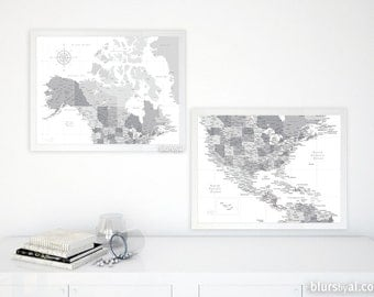Set Of Two Printable North America Maps 24x18 Canada And Us Maps With