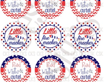 "1"" Digital Bottle Cap Sheet **INSTANT DOWNLOAD** 4th of July"