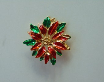Poinsettia Red, Green and Gold brooch pin lapel