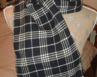 """Gentleman's Traditional Flannel Scarf White Black Plaid Fringe Ends 48"""" x 9 3/4"""" Great gift idea A Donovan Creation"""