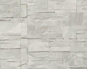Modern Block Faux Stone Ash Wallpaper R1874