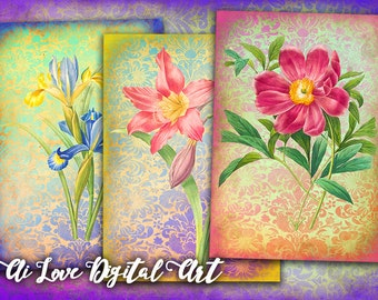 Victorian Flowers digital collage sheet, instant download, vintage ephemera digital images, aceo cards, gift tags printable, greeting cards