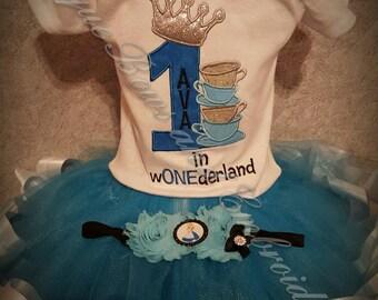 Alice in Wonderland Inspired Birthday Tutu Set ~ Alice in Wonderland Inspired Personalized Birthday Outfit