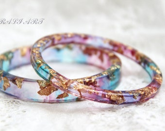 Bracelet resin silver flakes, Bangle gold flakes, Resin bangle, Set of two bracelets, Christmas gift, transparent bracelet gold flakes