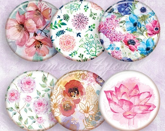 "Watercolor Flowers Digital Collage Sheet 1"" bottle cap images 1 inch circles printable download cabochon 30mm 25mm 1.25"" 1.5"" round graphics"