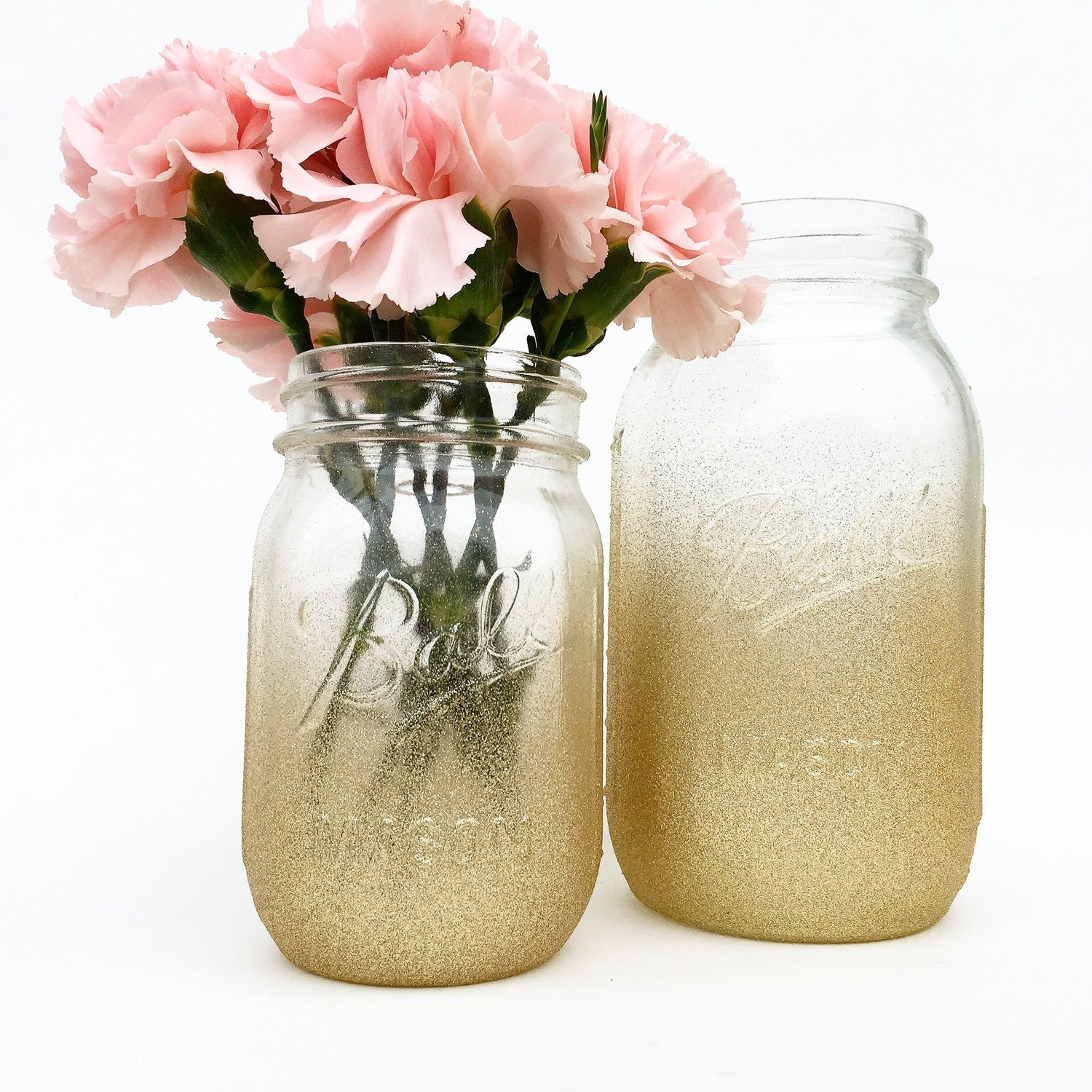 Gold ombre mason jar wedding centerpieces baby shower