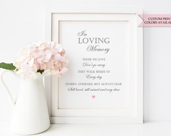 "In loving memory sign 8x10"" - In loving memory wedding sign - Wedding memorial sign - Wedding remembrance sign - Elegant wedding sign"