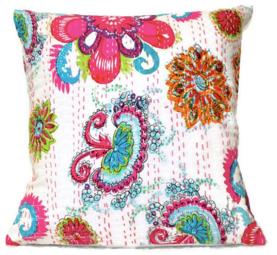 White Quilted Decorative Pillows : Items similar to Indian Quilted Kantha Pillow Multicolor 18x18 Handmade Cushion Cover Decorative ...