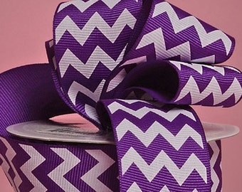 "1-1/2"" Purple Chevron Print Grosgrain Ribbon 1-1/2"" x 1 yard"