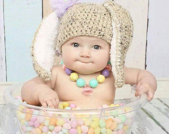 Crochet Bunny Hat and Diaper Cover photoprop (hair clip not included)