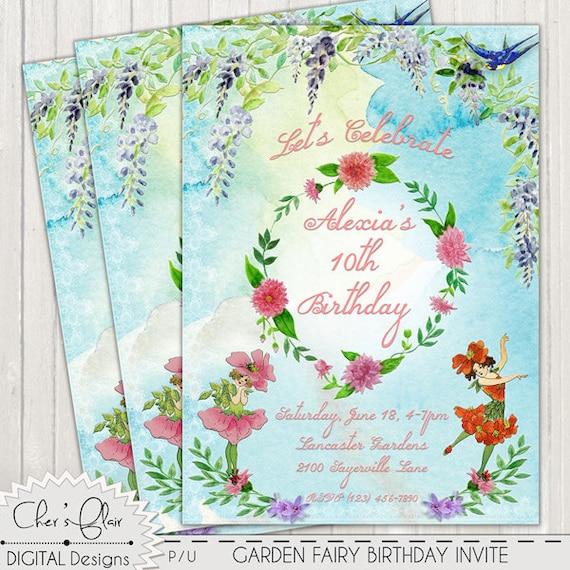 FAIRY BIRTHDAY PARTY Invitation Garden Fairy Birthday 1st – Garden Birthday Party Invitations