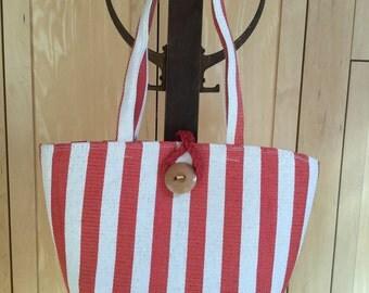 Striped Straw Bag