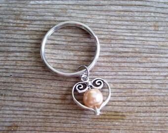 Heart Key Ring, Filigree Silver Heart Key Chain, Sweetheart Keychain, Champagne Pearl Bead, Pearl Heart Keychain