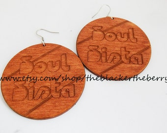 Soul Sista Earrings 70s Wooden Large Wood  African American Black Woman Soul Jewelry Afrocentric Ethnic Earrings Wood Sista Jewelry