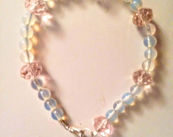 Beautiful, handmade moonstone and pink crystal bracelet