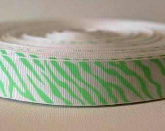 GLOW in the DARK Neon Green Zebra 7/8 Inch Grosgrain Ribbon