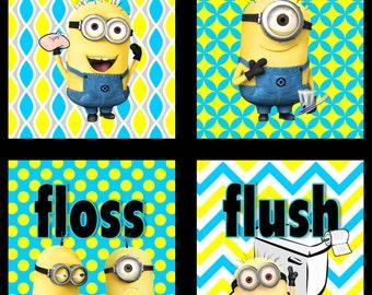 Customized Minions Wash Brush Flush Kids Bathroom Wall Art - Set of 4