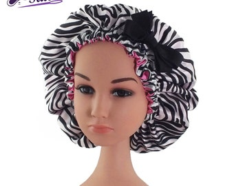 Kid Satin Adjustable Bonnet Child Size Zebra Print with Pink Lining and Bow